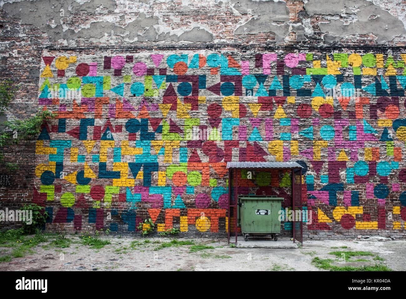 Street Art in Warsaw Praga district - Stock Image