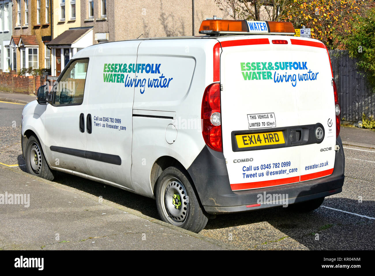 Essex and Suffolk water supply company part of Northumbrian Water Group Vauxhall Combo van parked in residential - Stock Image