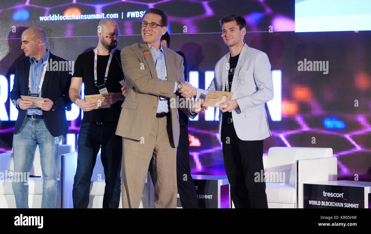 United Arab Emirates, Dubai - October 2017: Business Meeting and Conferences Ideas. Conference in Dubai on blockchain - Stock Image