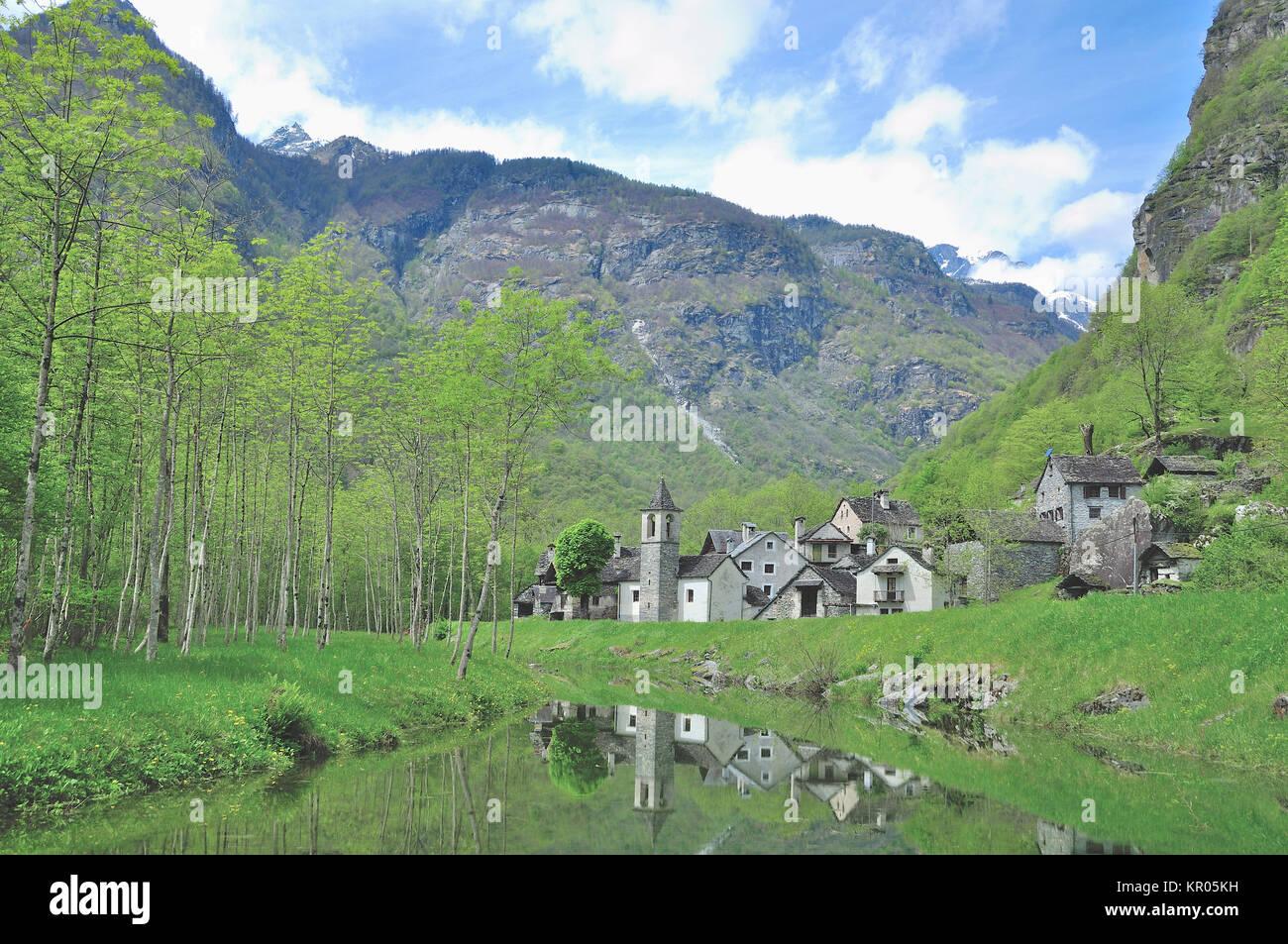 the hamlet ritorto in val bavona in ticino,switzerland - Stock Image