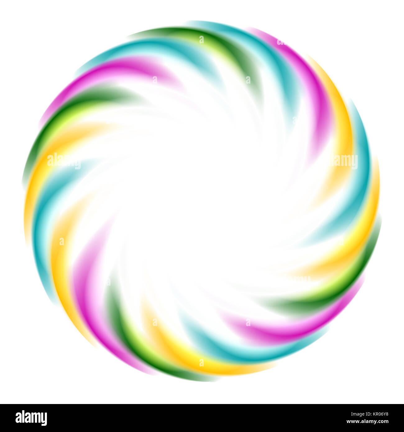 Colorful iridescent round logo on white background - Stock Image