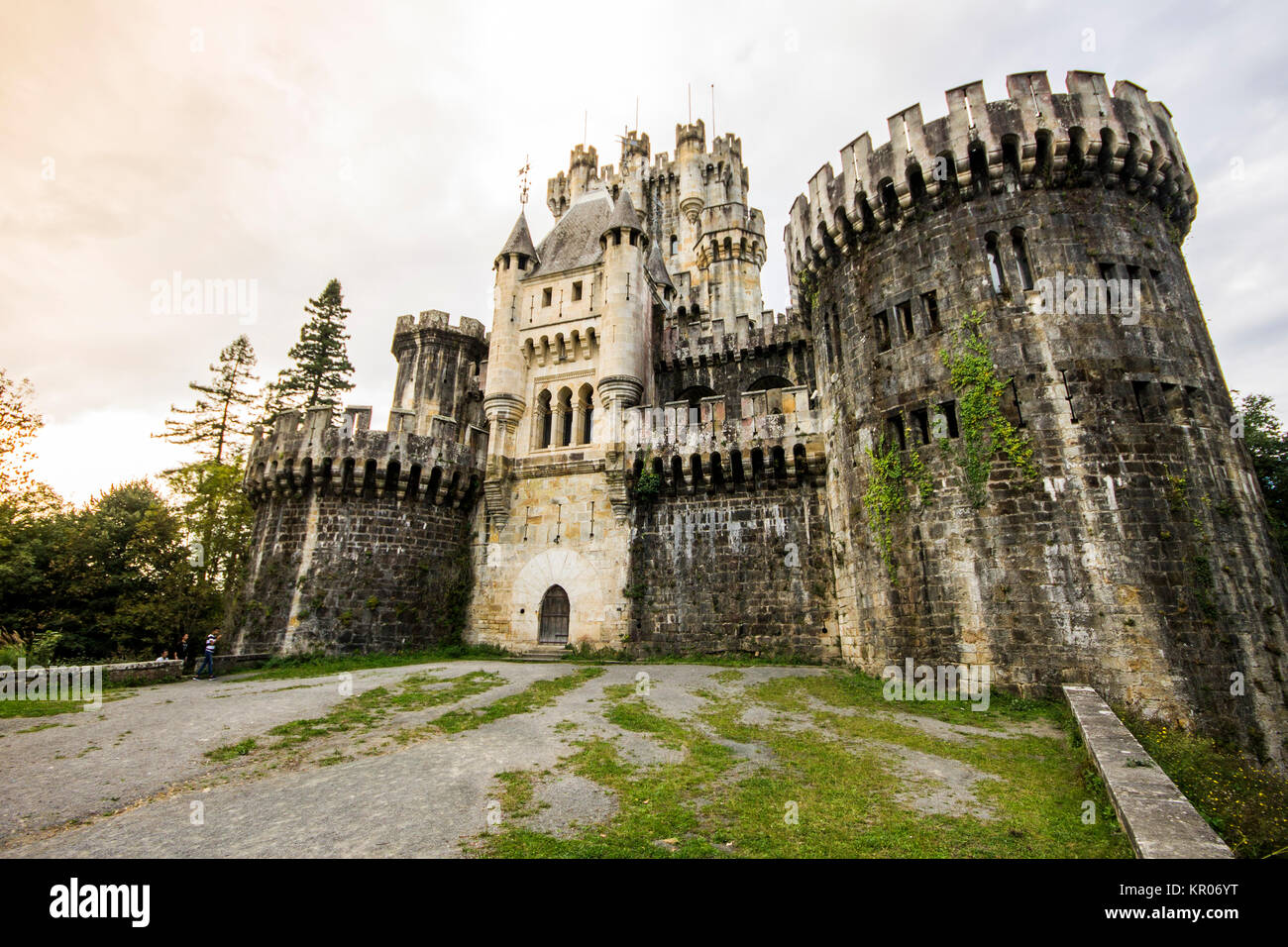 The Butroeko gaztelua or Butron Castle, a fortress completely rebuilt by Francisco de Cubas in 1878, located in - Stock Image