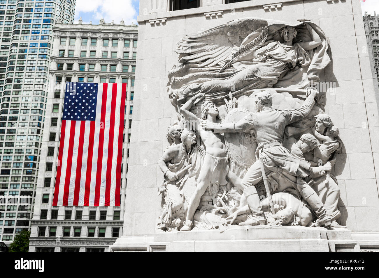 Sculpture 'Defense' depicting Ensign George Ronan in a scene from the 1812 Battle of Fort Dearborn. Michigan - Stock Image