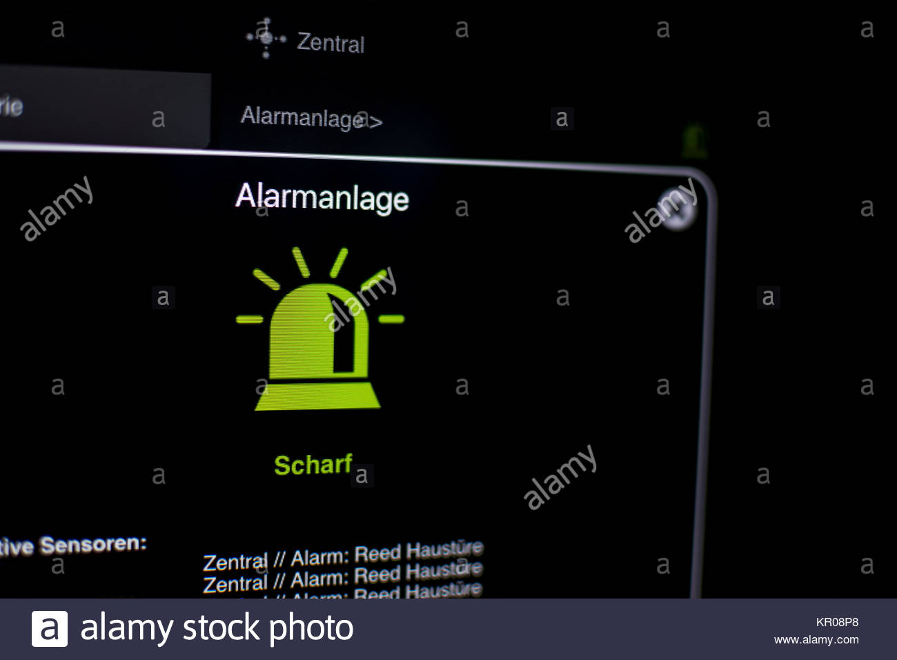 alarm visualization on the tablet with smart home - Stock Image