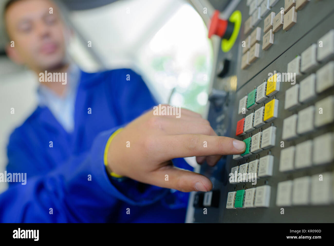 pressing button - Stock Image
