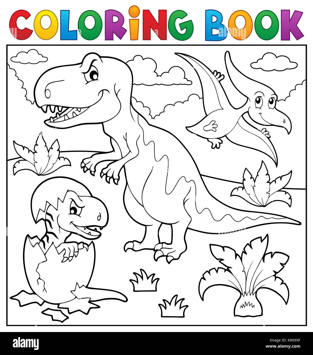 Coloring book dinosaur topic 9 - Stock Image