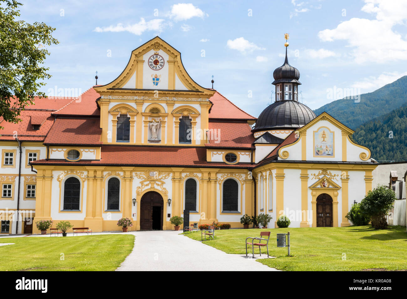 Stift Stams, a baroque Cistercian abbey in the municipality of Stams, state of Tyrol, western Austria Stock Photo