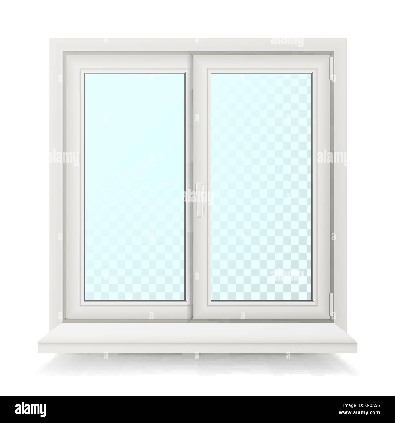Plastic Window Vector. Home Window Design Concept. Isolated On White Background Illustration - Stock Vector