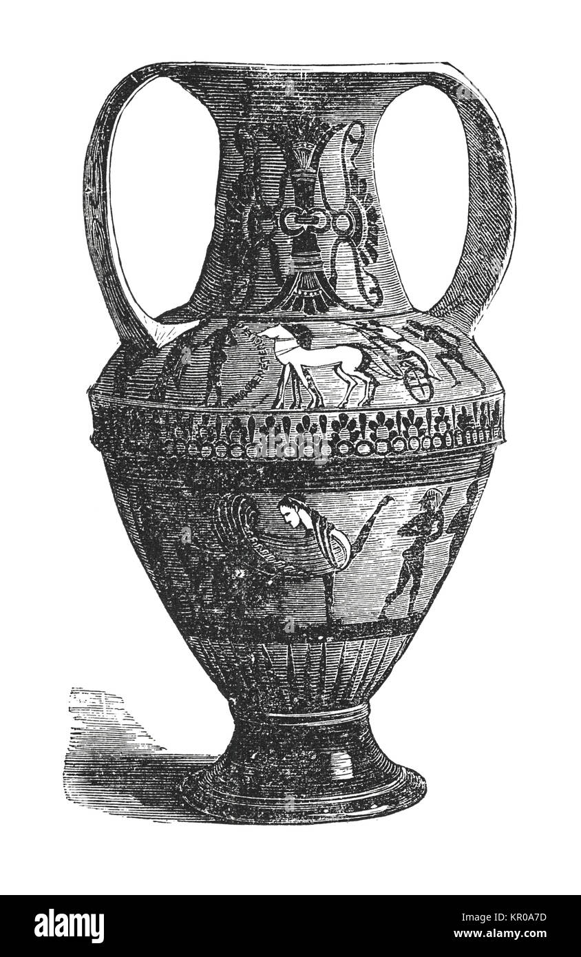 Ornamented Antique Greek vase (engraving from 19th century) - Stock Image