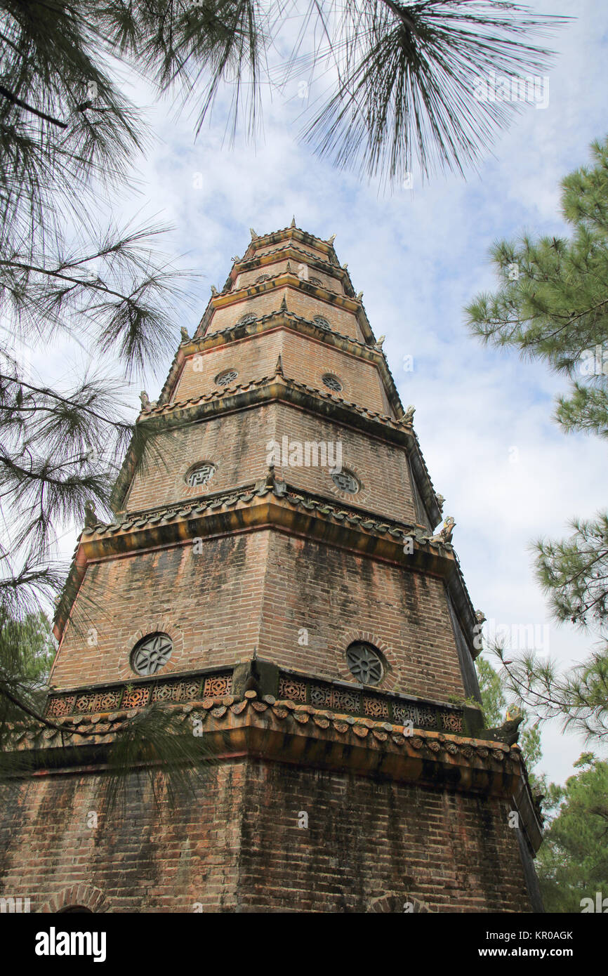 thien mu pagoda or the pagoda of the celestial lady hue vietnam - Stock Image
