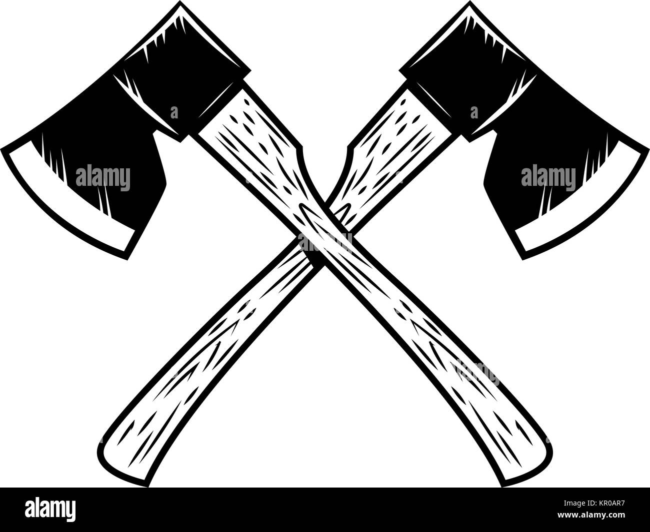 cartoon lumberjack illustration cut out stock images pictures alamy  crossed lumberjack axes isolated on white background design element for poster emblem sign