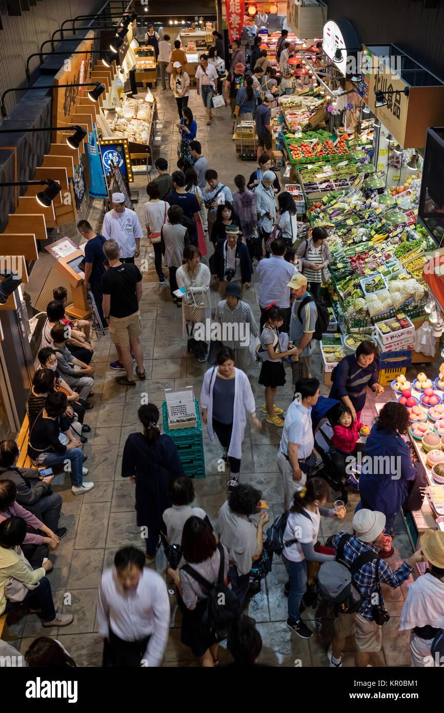 Kanazawa - Japan, June 10, 2017: Local people shopping at the Omicho Market - Stock Image