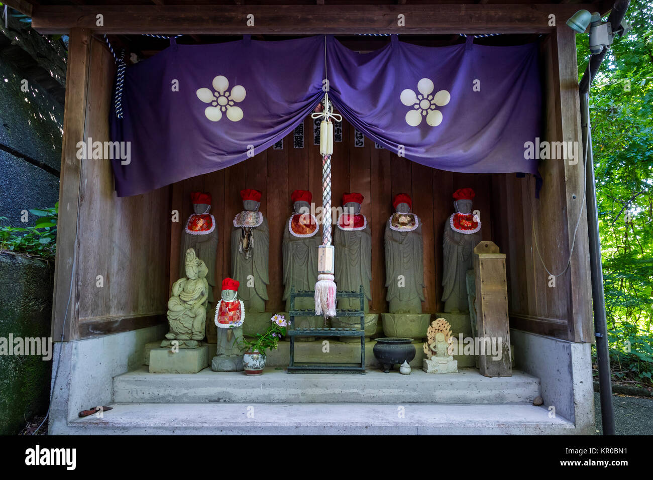 Kanazawa - Japan, June 11, 2017: Shinto shrine at the stairs to the Utatsuyama Temple Area, Spiritual Road, in Kanazawa - Stock Image