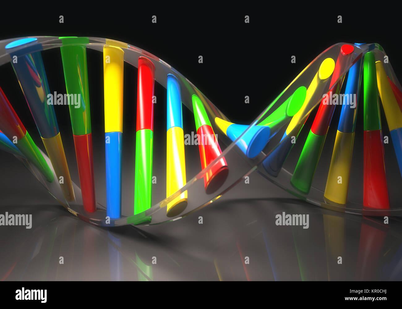 Colored DNA Molecule - Stock Image
