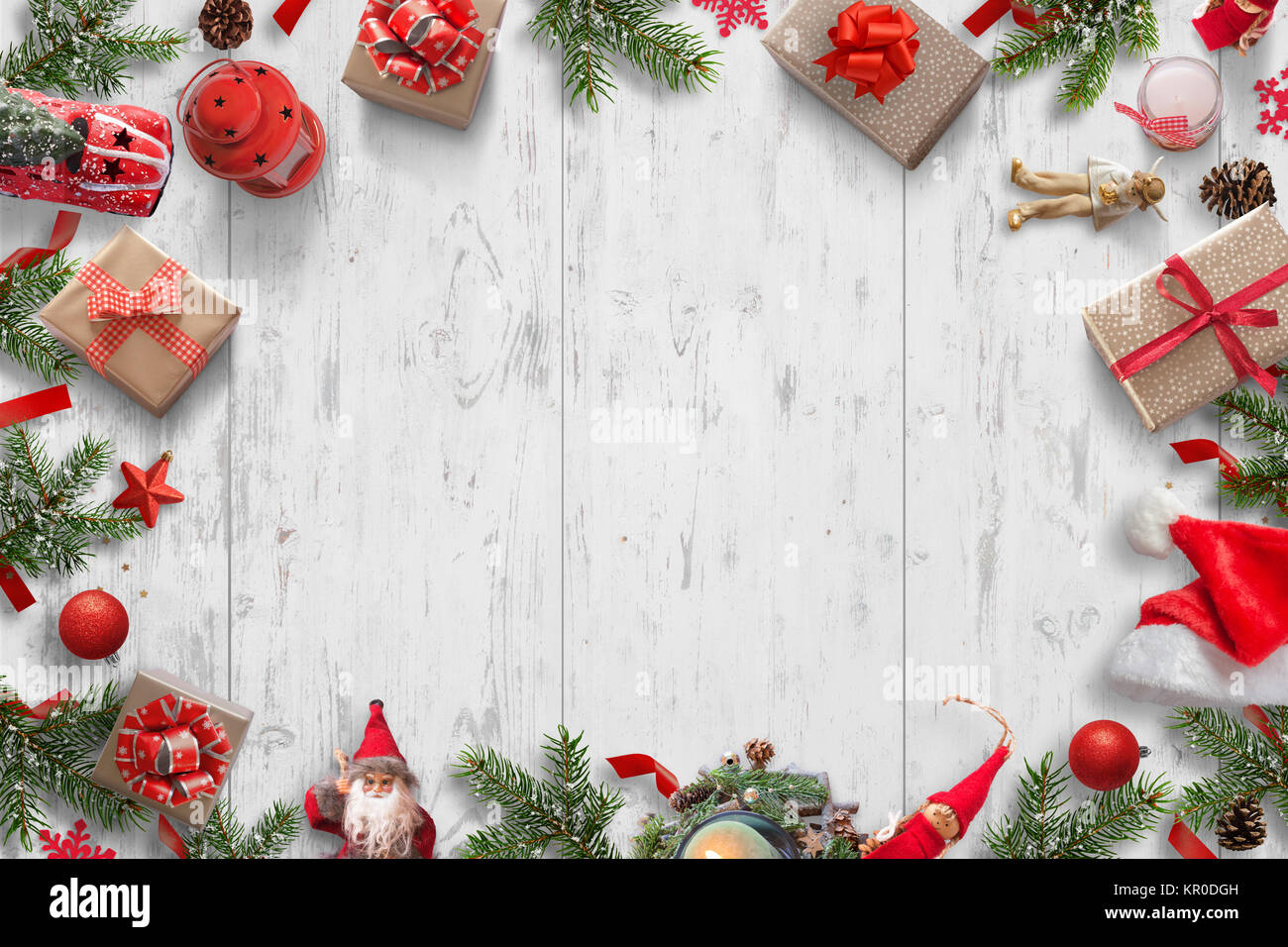 Christmas Background Pic.Christmas Background On White Wooden Desk With Christmas