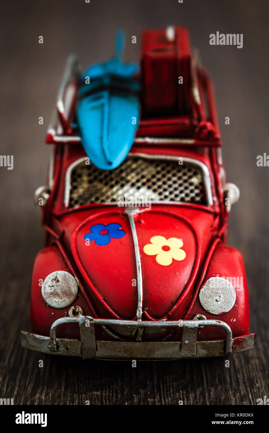 Classic Mini Red Car Model on Brown - Stock Image