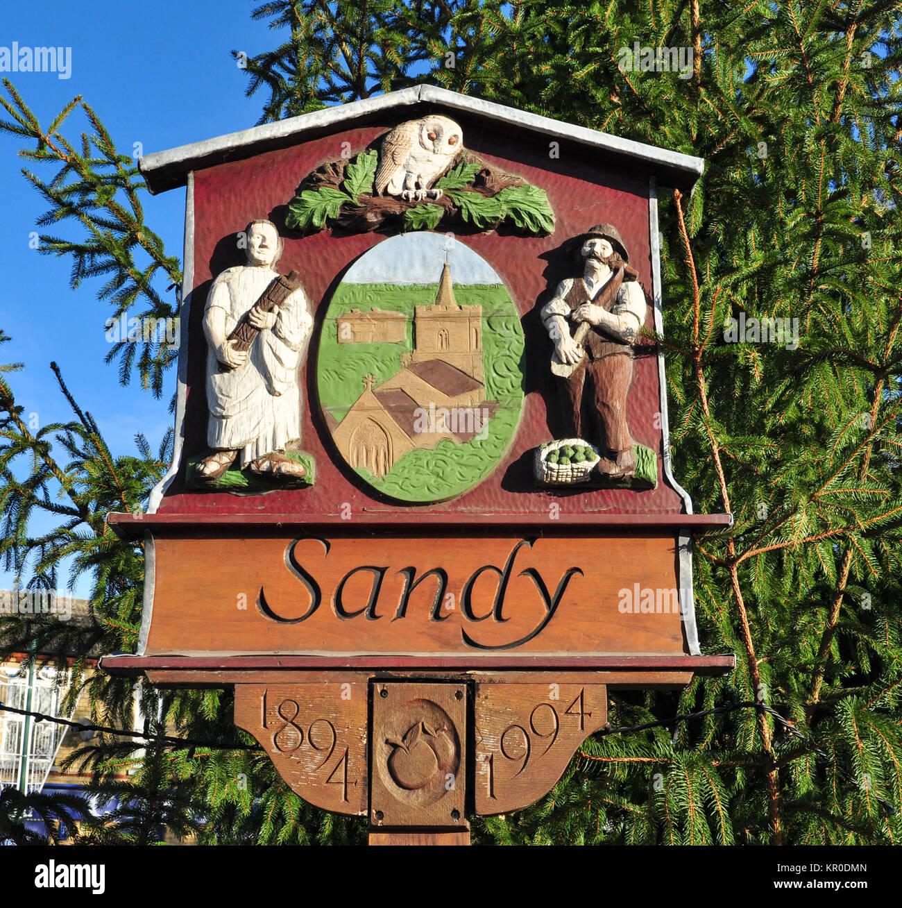 Town sign and emblem, Sandy, Bedfordshire, England, UK - Stock Image