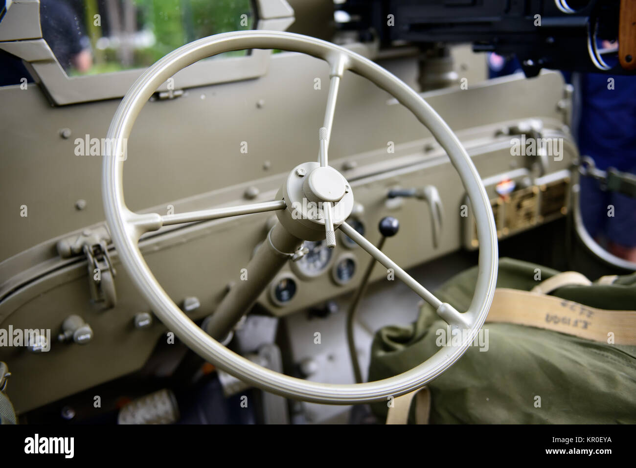 steering wheel military vehicle - Stock Image