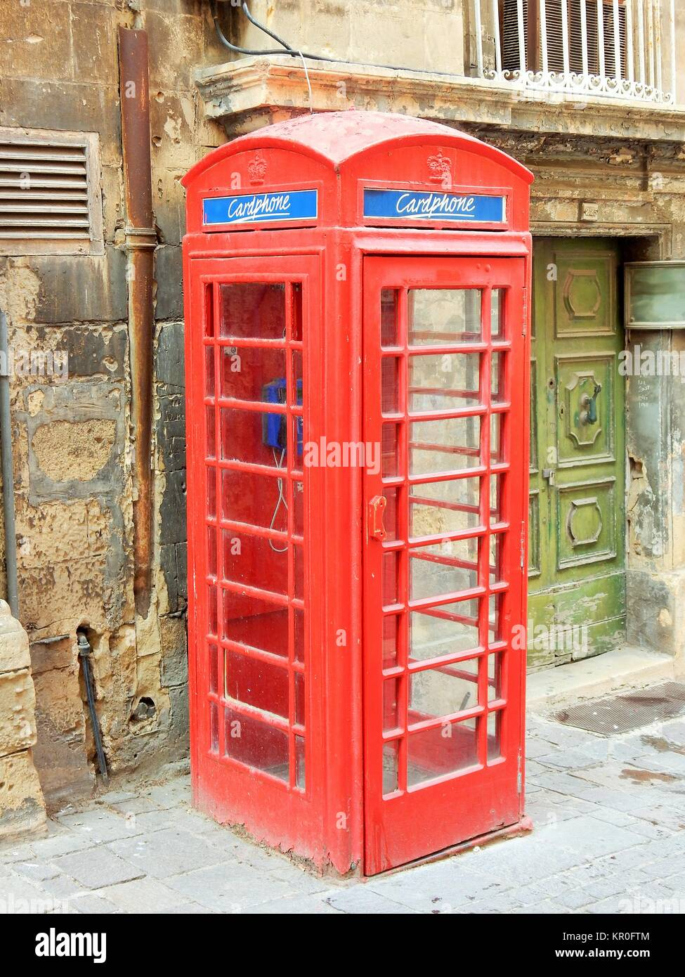 old english phone booth in valletta,malta - Stock Image