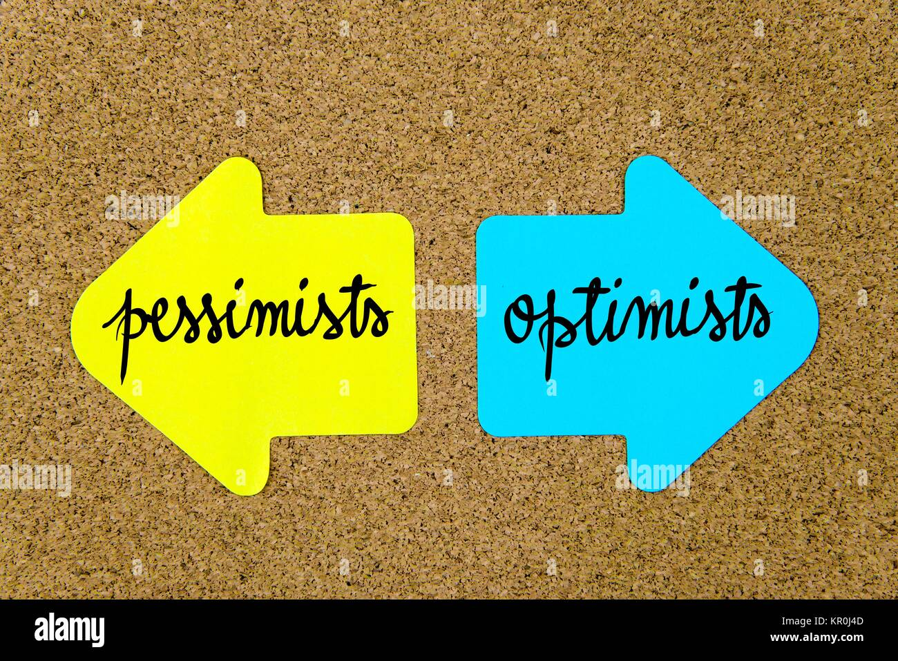 Message Pessimists versus Optimists - Stock Image