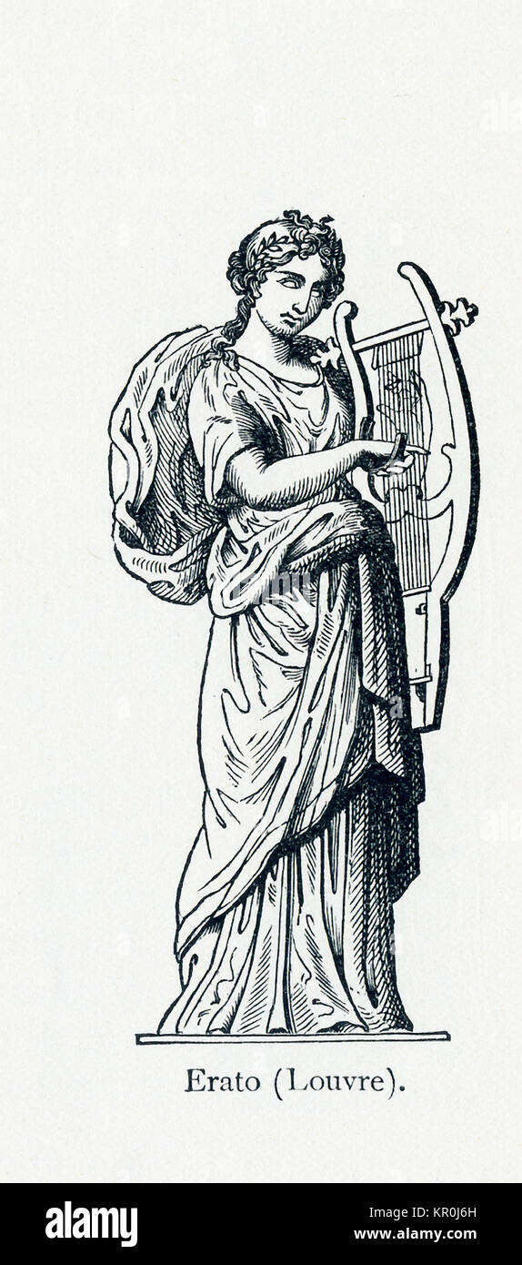 This illustration dates to 1898 and shows a statue of Erato in Louvre Museum. Erato was honored as the Muse of love Stock Photo