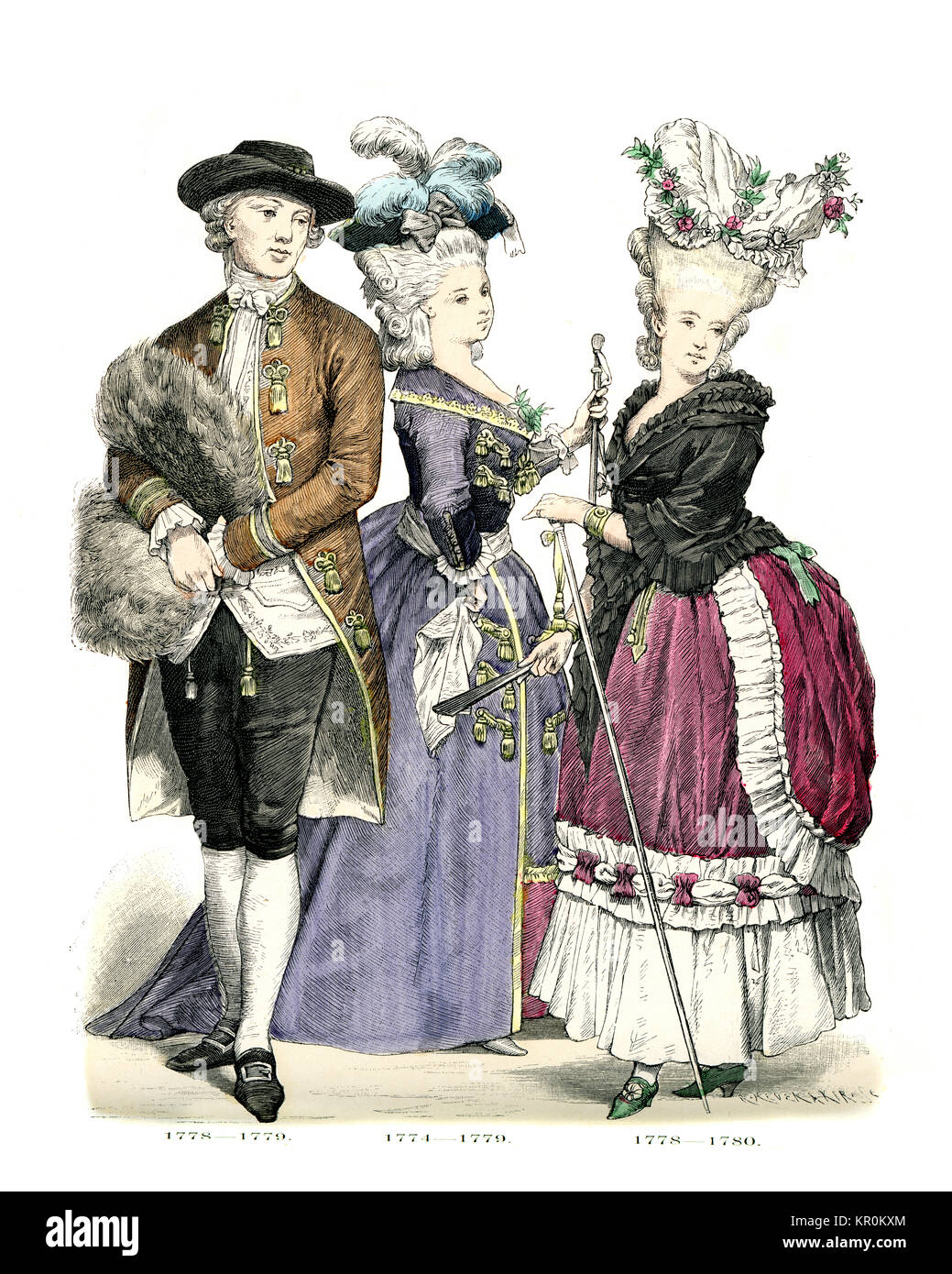 History of Fashion, Costumes of French men and women of the late 18th Century - Stock Image