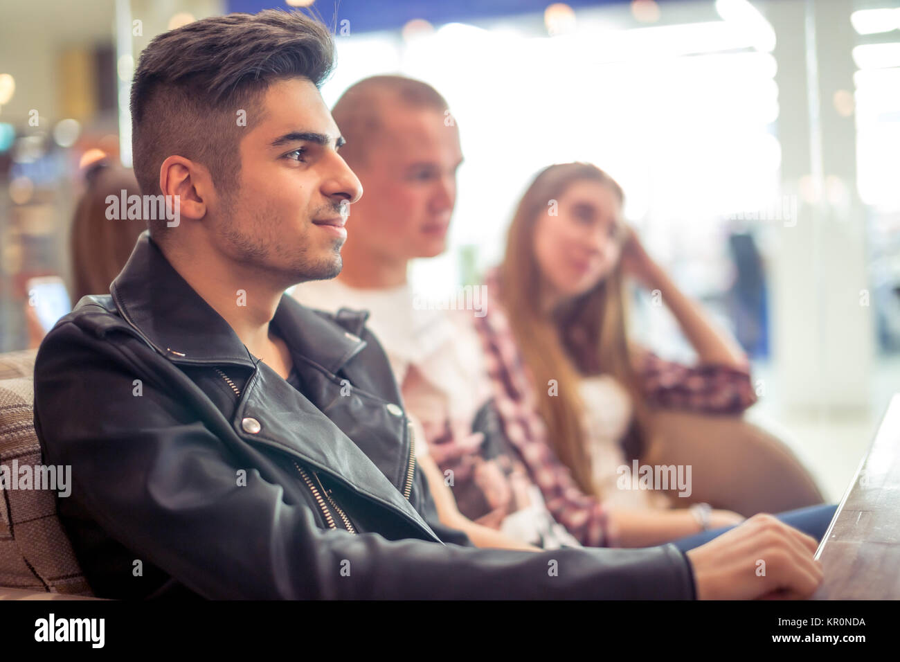 Group Of People Drinking Coffee in cafe Concept - Stock Image