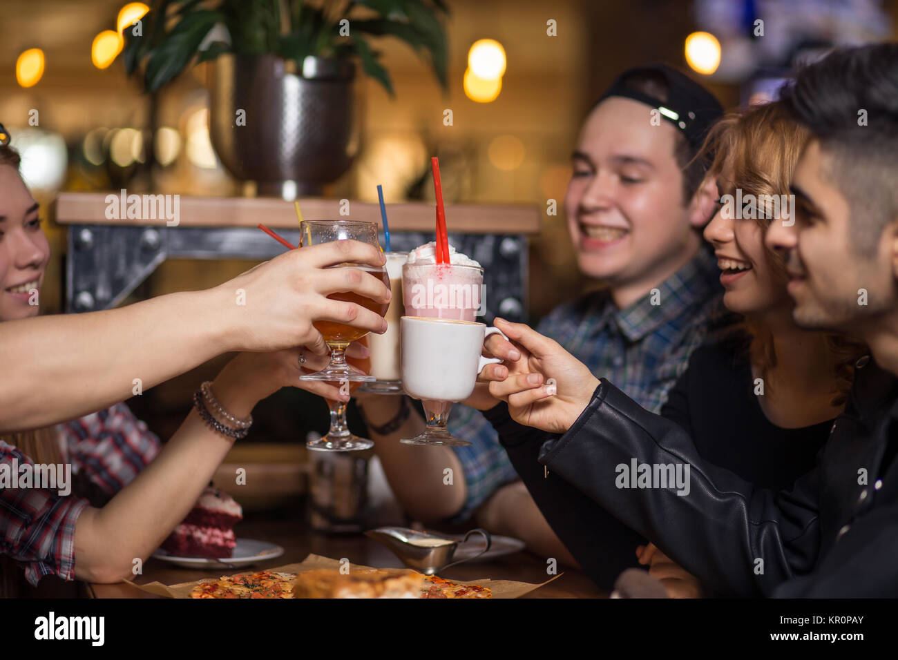 People Meeting Friendship Togetherness Coffee Shop Concept - Stock Image