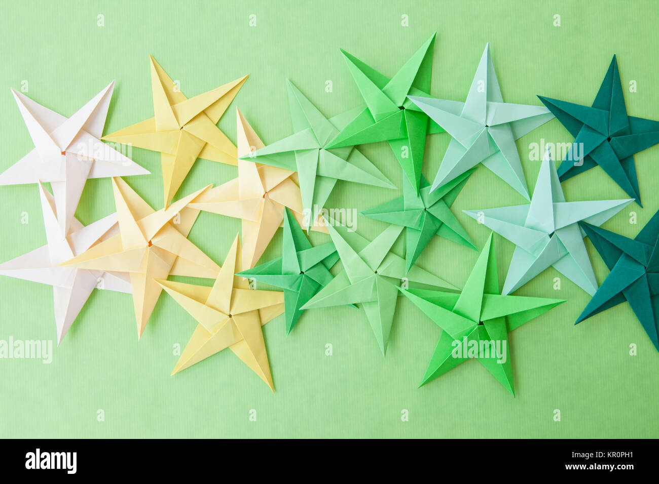 colorful origami stars - Stock Image
