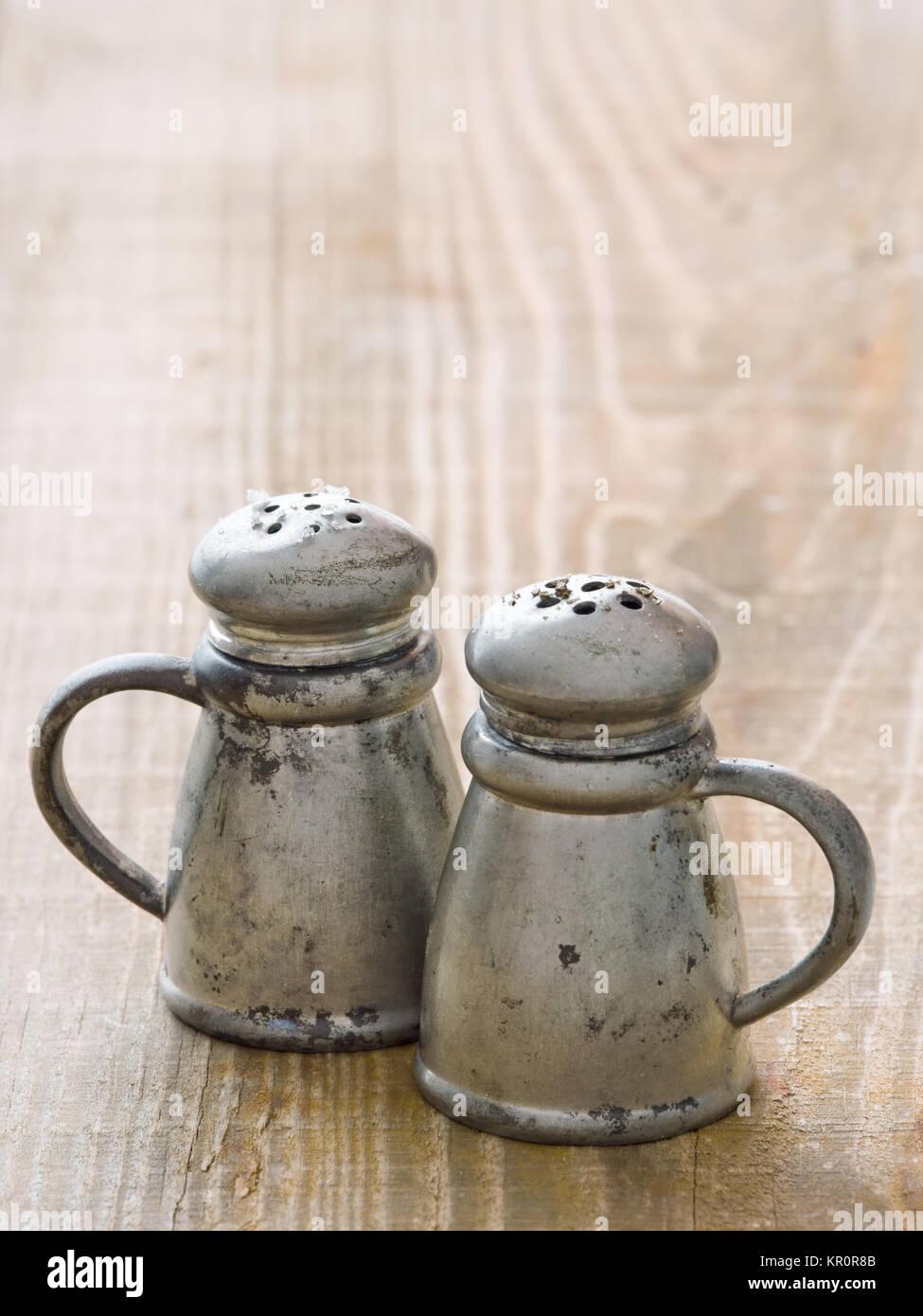 rustic salt and pepper shaker stock photo: 169048667 - alamy