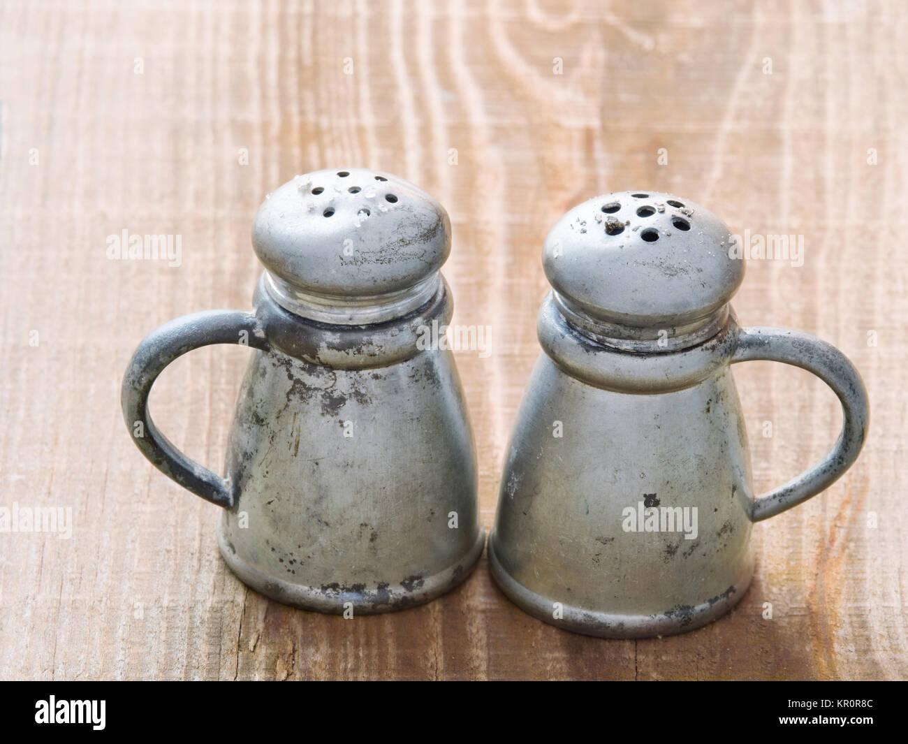 rustic salt and pepper shaker stock photo: 169048668 - alamy