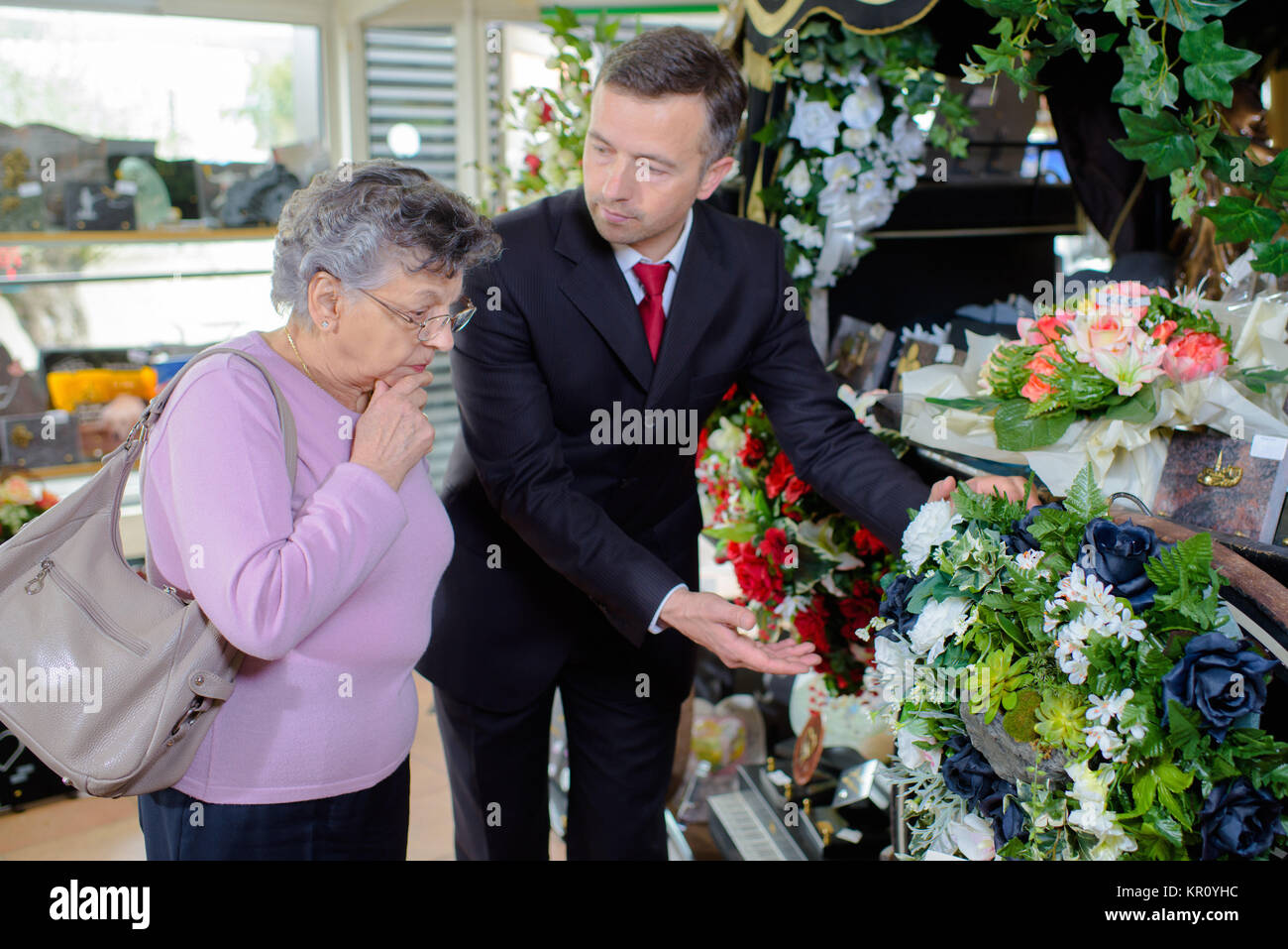 choosing a bouquet - Stock Image