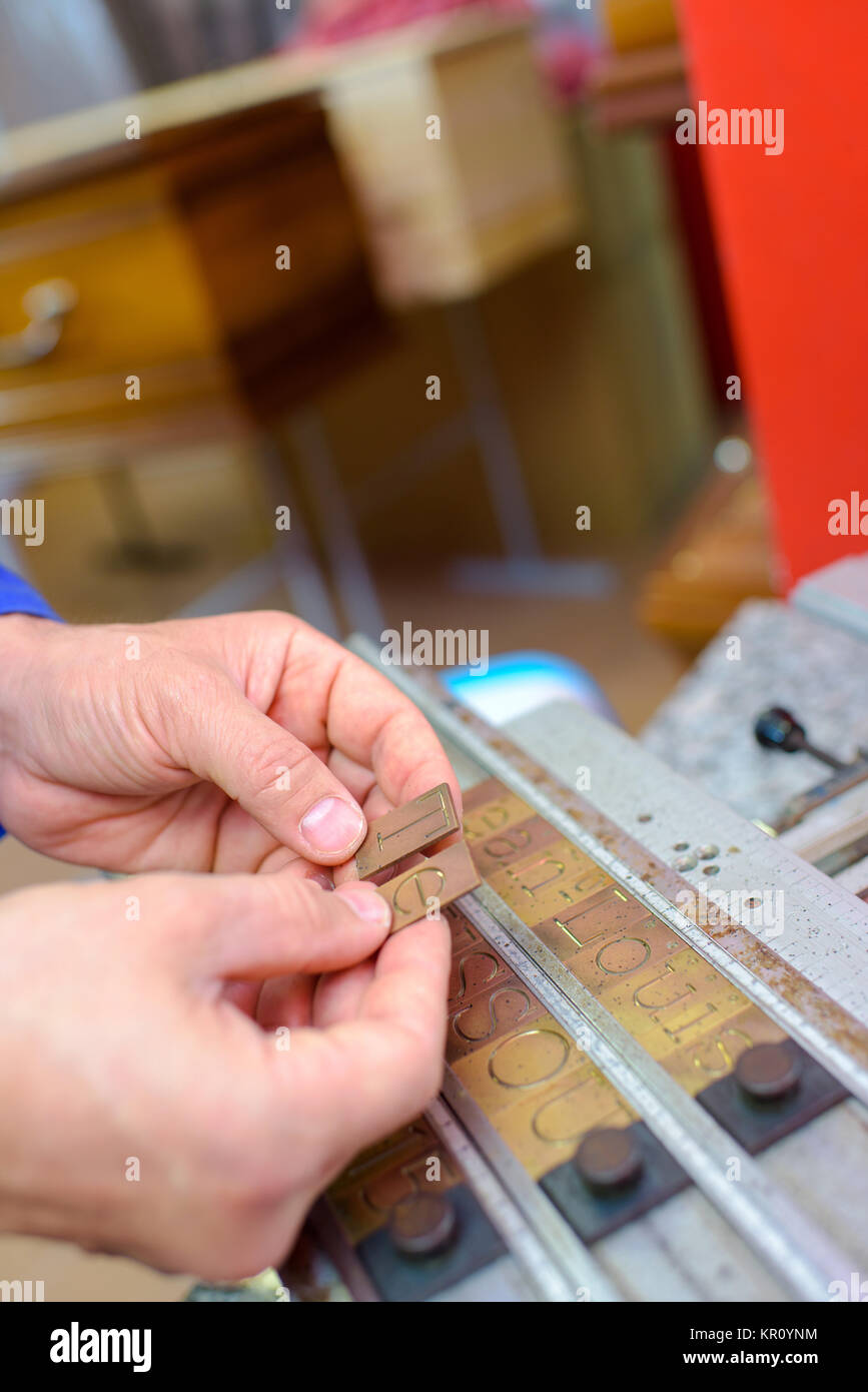 letter engraving - Stock Image