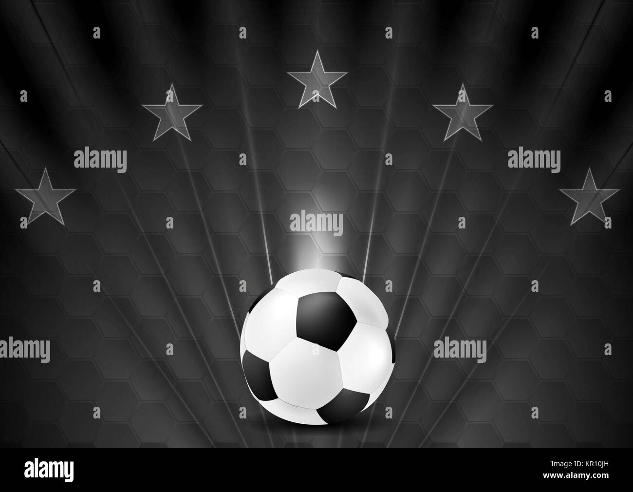Black abstract soccer football background with stars stock image