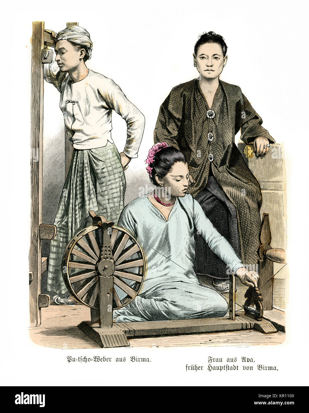 Sarong Weavers of Burma and woman of Ava. 19th Century - Stock Image