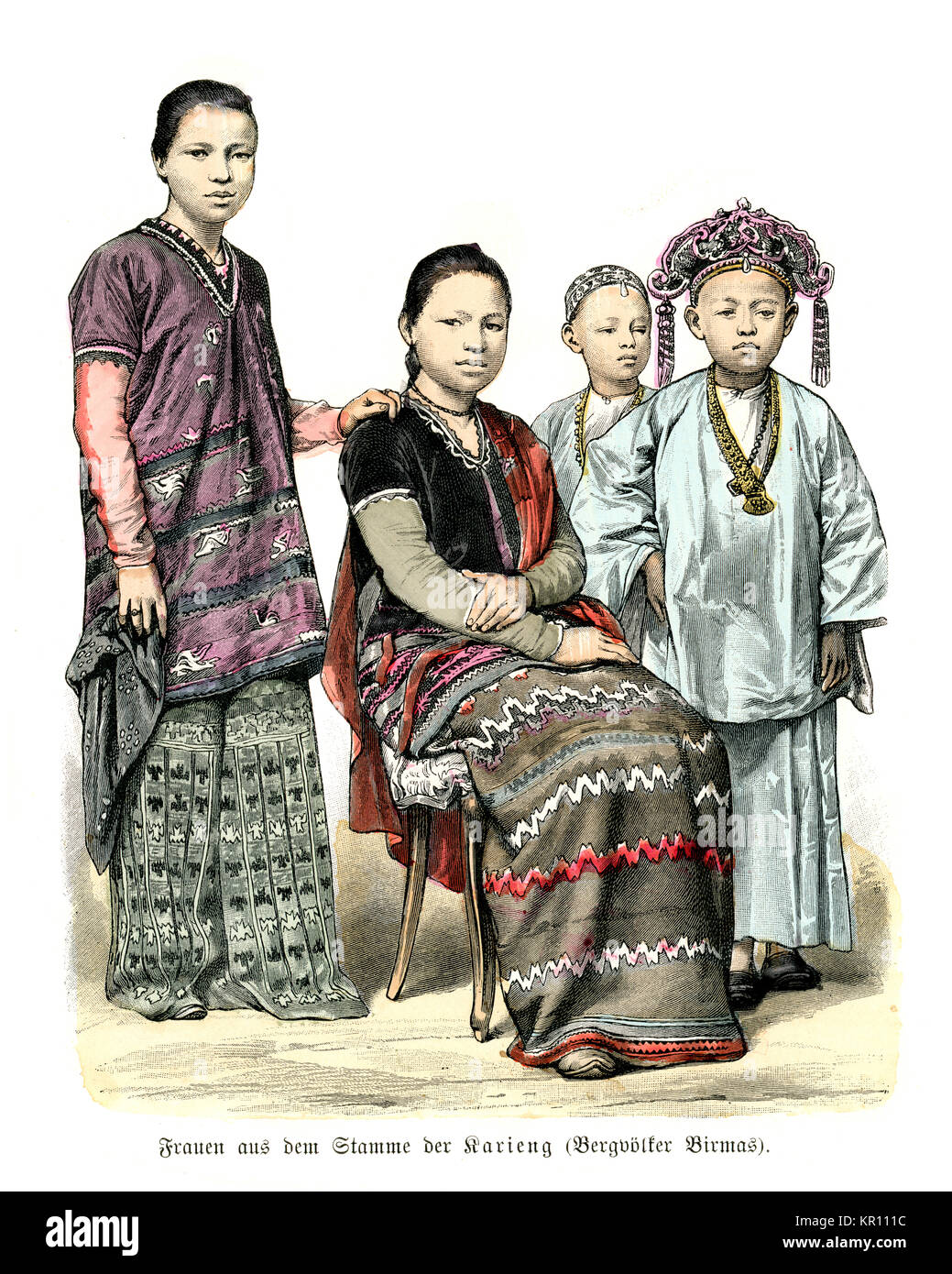 Burmese women and children in traditional dress, 19th Century, 1886 - Stock Image