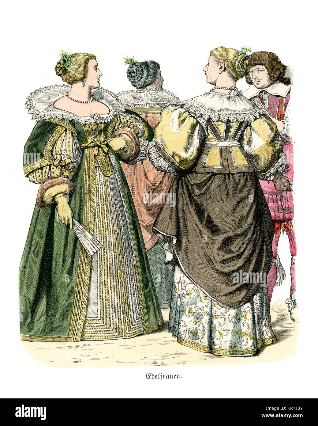 History of Fashion, Costumes of French noblewomen of the mid 17th Century - Stock Image
