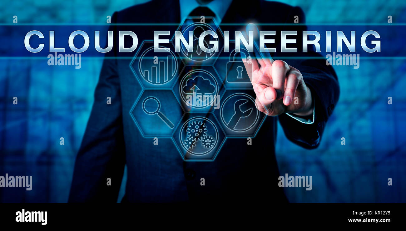 Cloud Architect Pressing CLOUD ENGINEERING - Stock Image