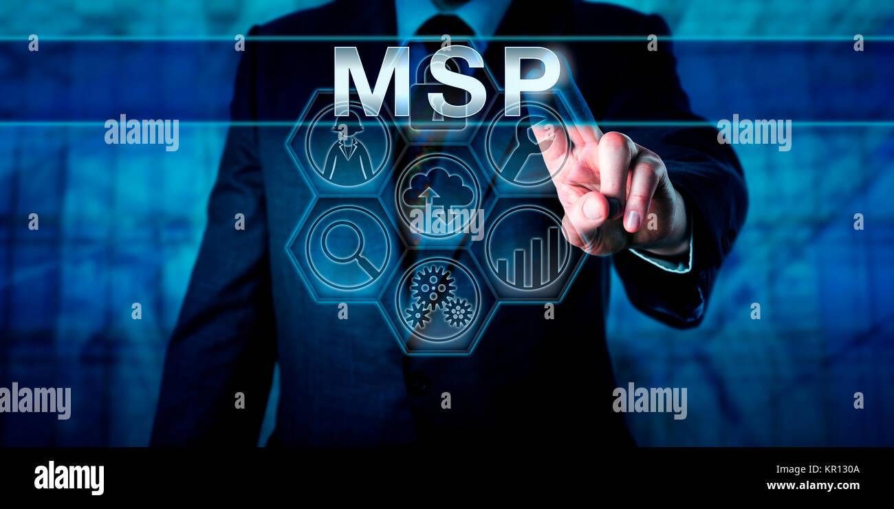 Corporate Manager Pushing MSP - Stock Image