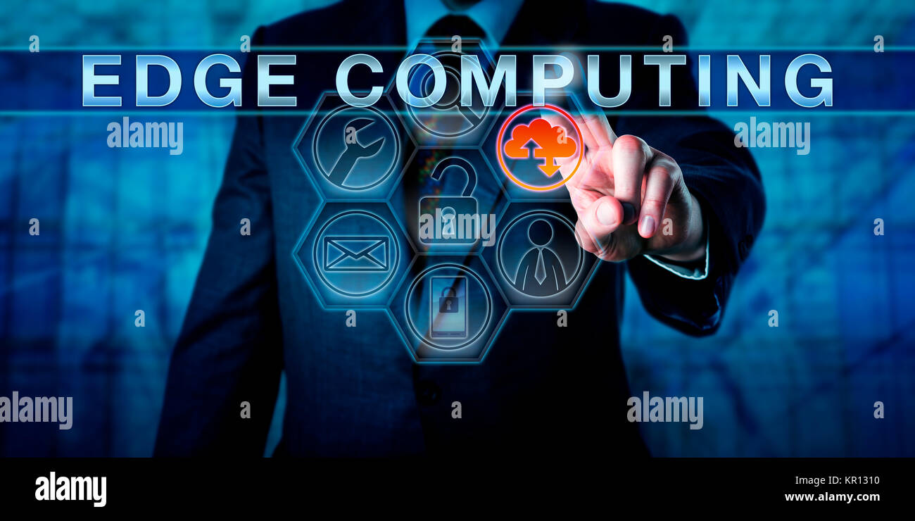 Business Person Touching EDGE COMPUTING - Stock Image
