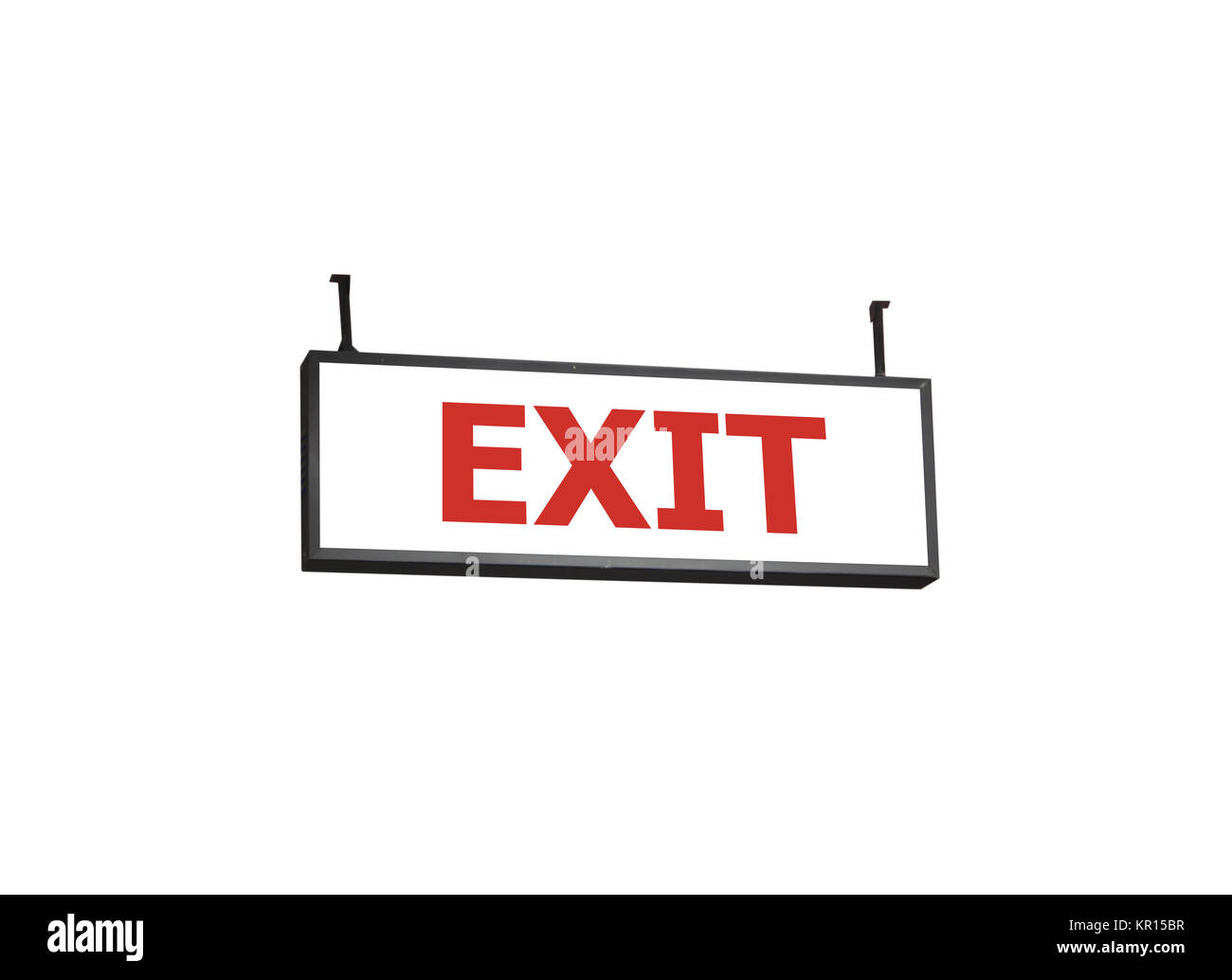 Exit signboard on white background - Stock Image
