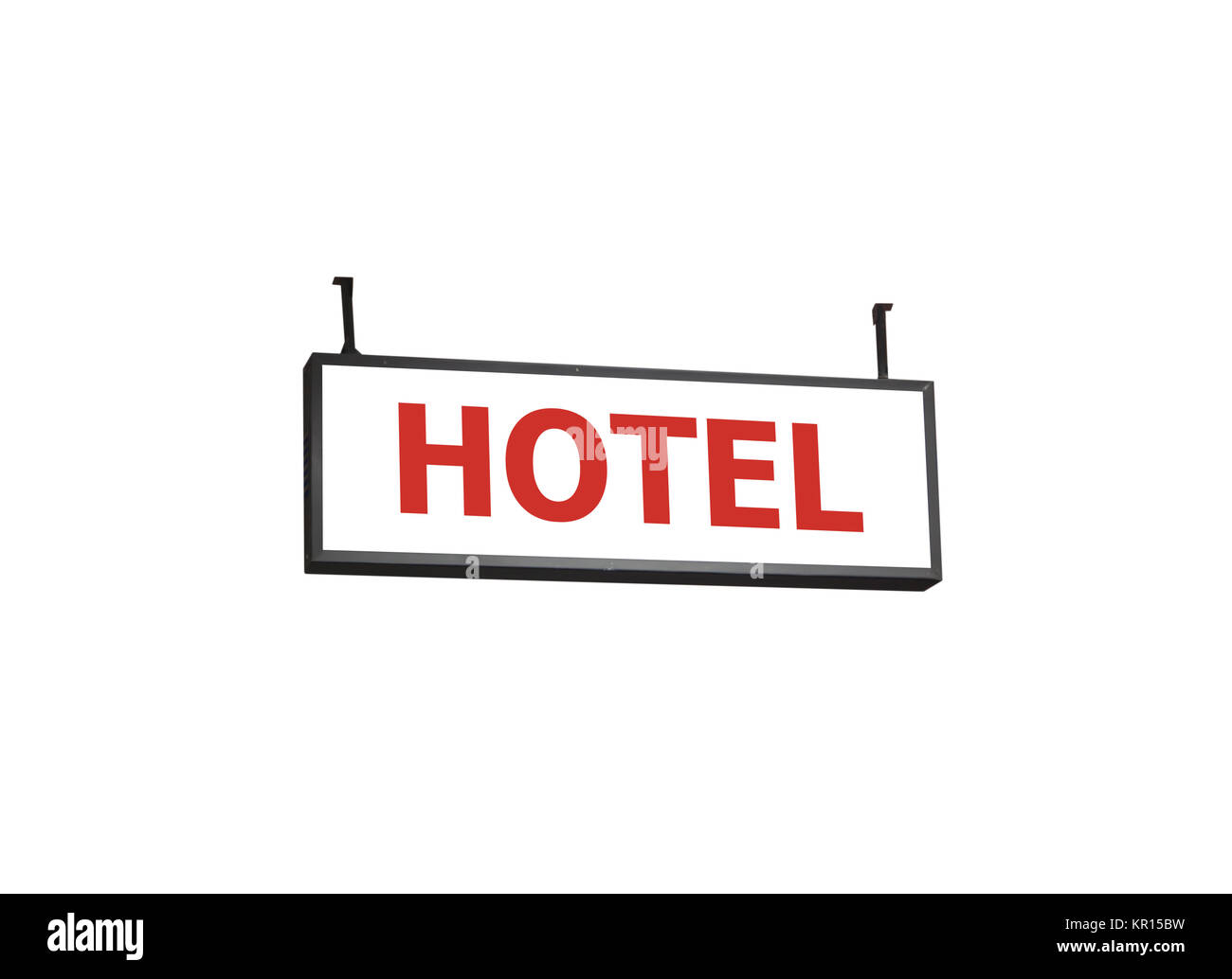 Hotel signboard on white background - Stock Image