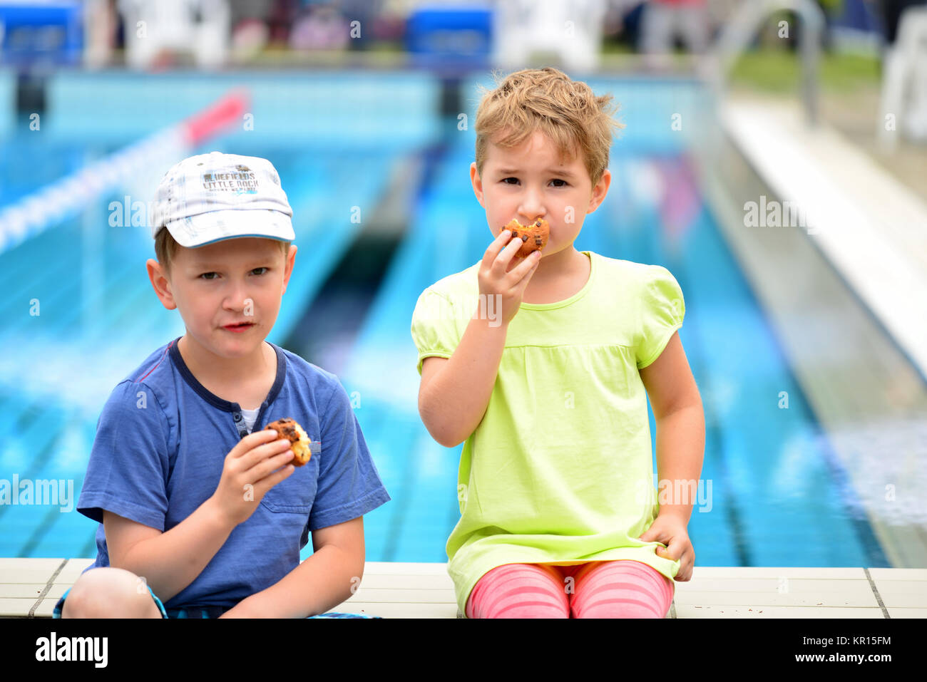 children at the pool - Stock Image