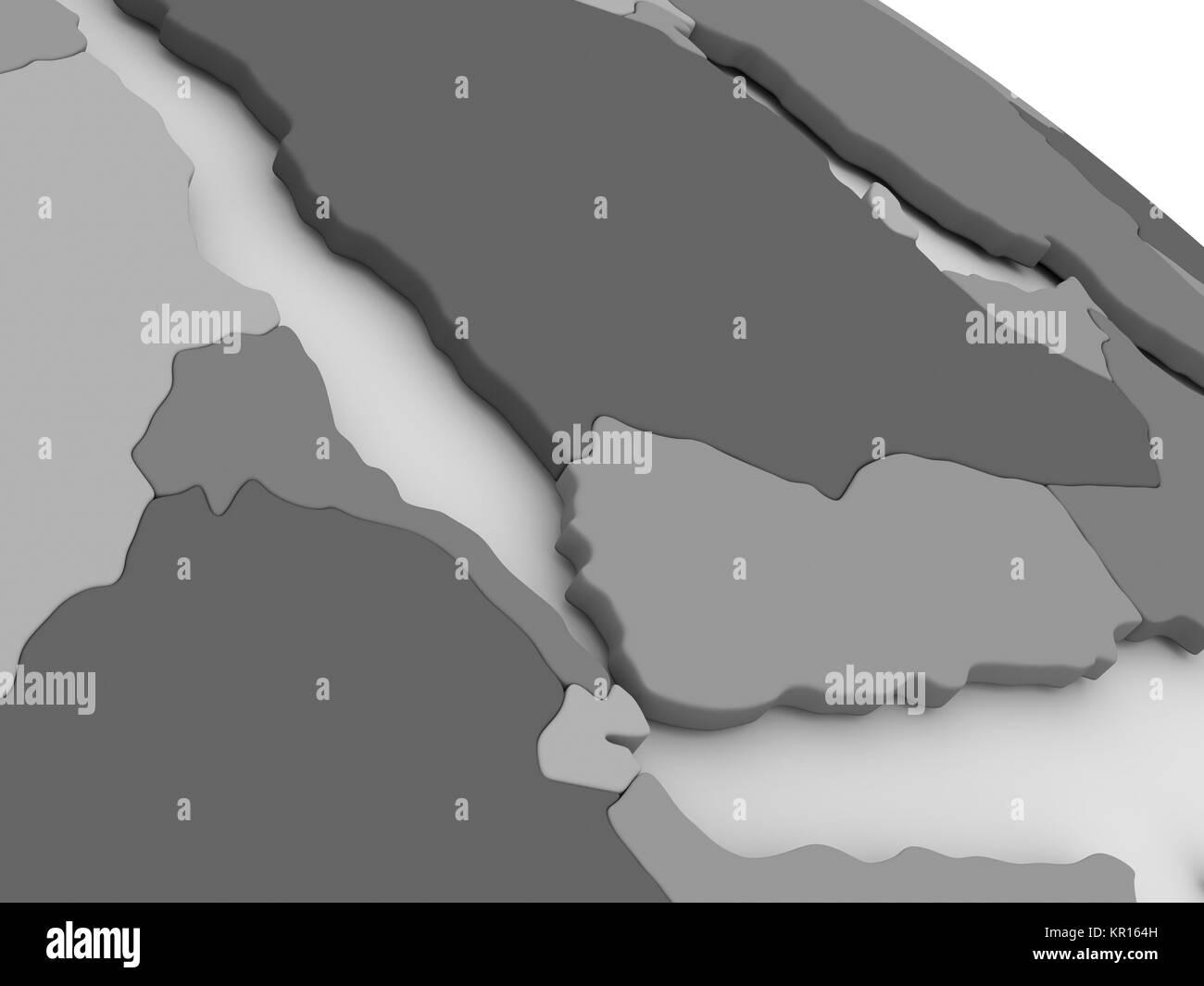 Yemen, Eritrea and Djibouti on grey 3D map - Stock Image
