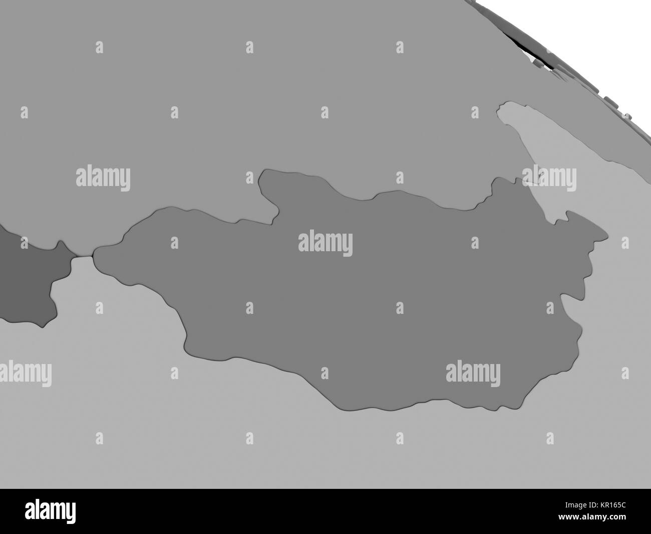 Mongolia on grey 3D map - Stock Image