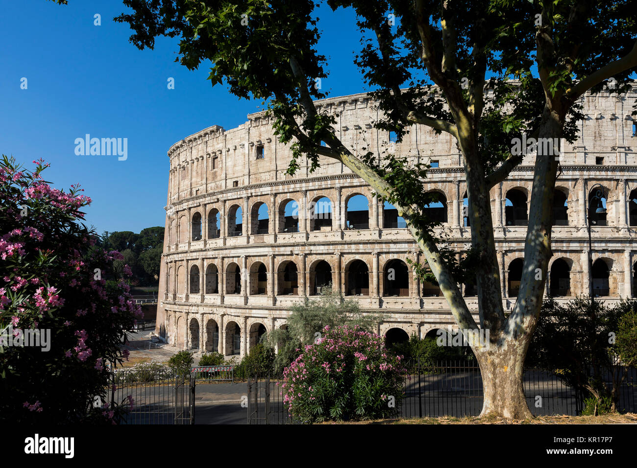 Outside the Roman Colosseum. Rome, Italy - Stock Image