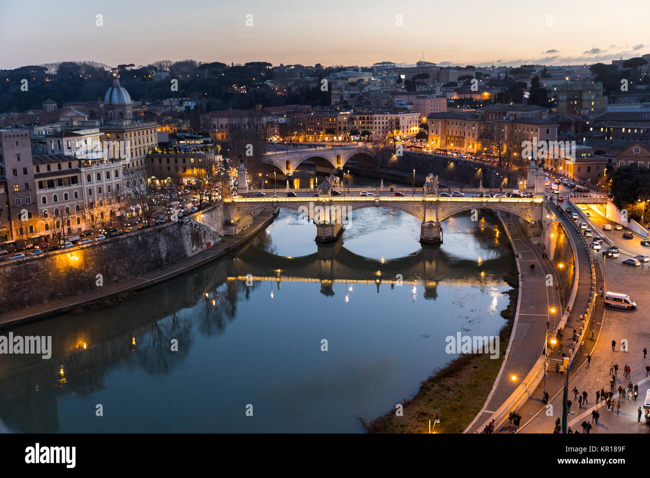 The Tiber river at night. Rome Italy - Stock Image