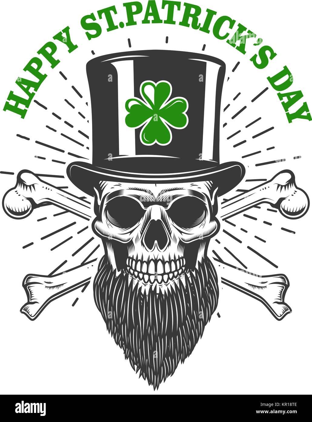 4077bbd5e Happy saint patrick day. Irish Leprechaun skull with clover. Design element  for poster,