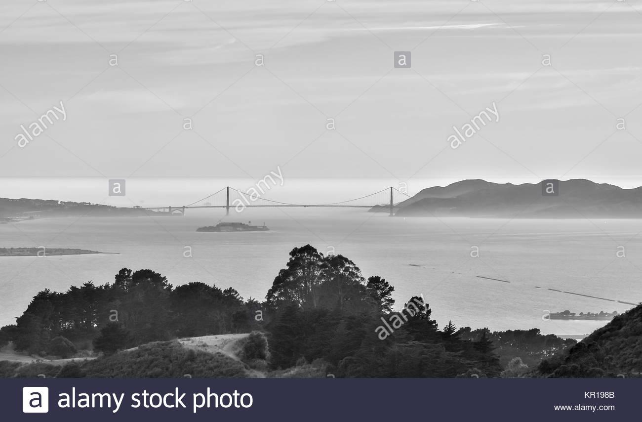 The Golden Gate Bridge of San Francisco from Berkeley Hills - Stock Image