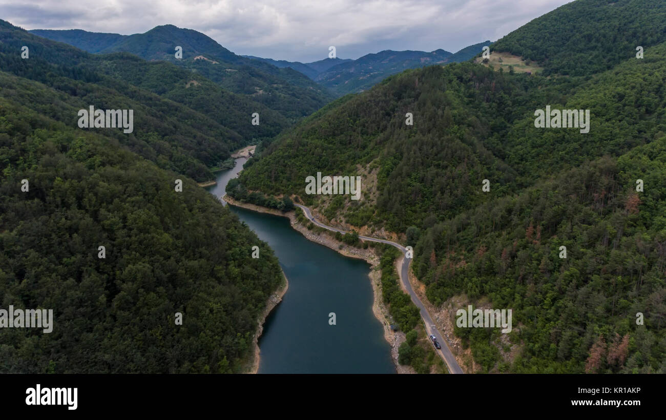 river in the mountain, drone photography - Stock Image